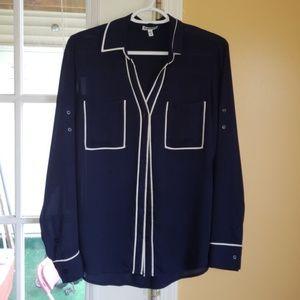 Navy Express long sleeve blouse.